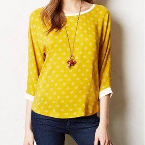 Anthropologie Maeve Yellow Polka Dot Shirt